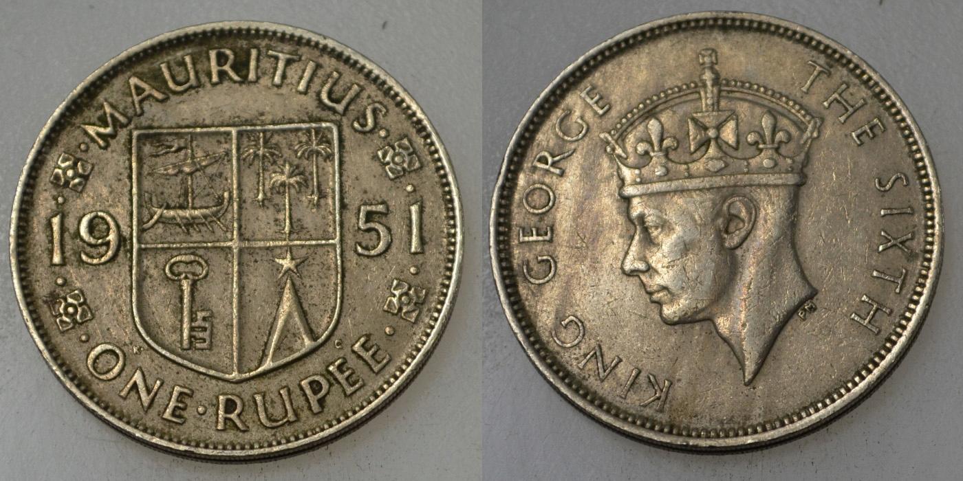 Mauritius 1 Rupia 1951 rok BCM