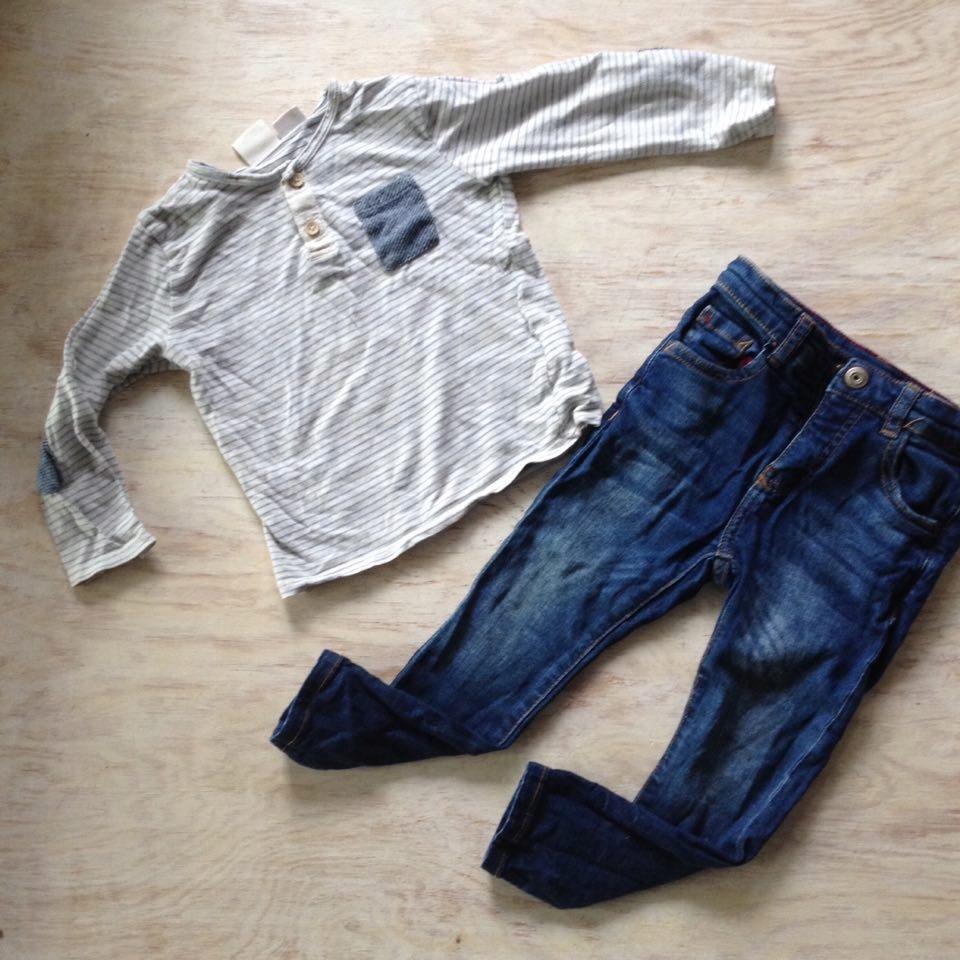 Jeansy i bluzka paski z kieszonką ZARA 104