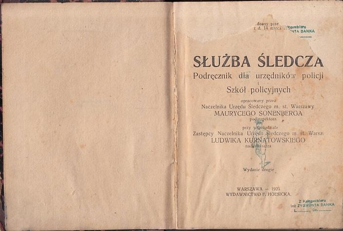 Sonenberg - Służba śledcza - wyd.1925