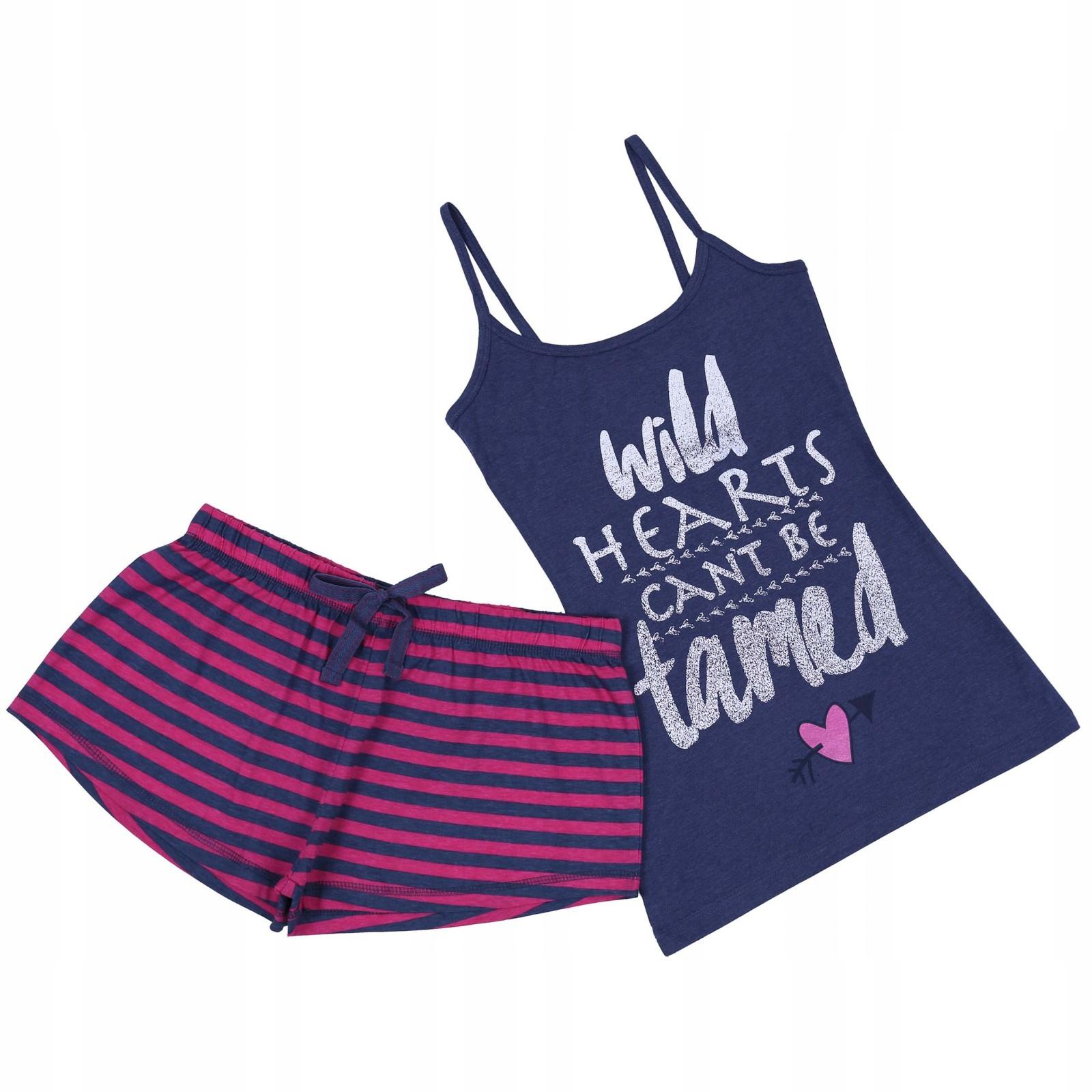 Granatowo-różowa piżama w paski PRIMARK 32