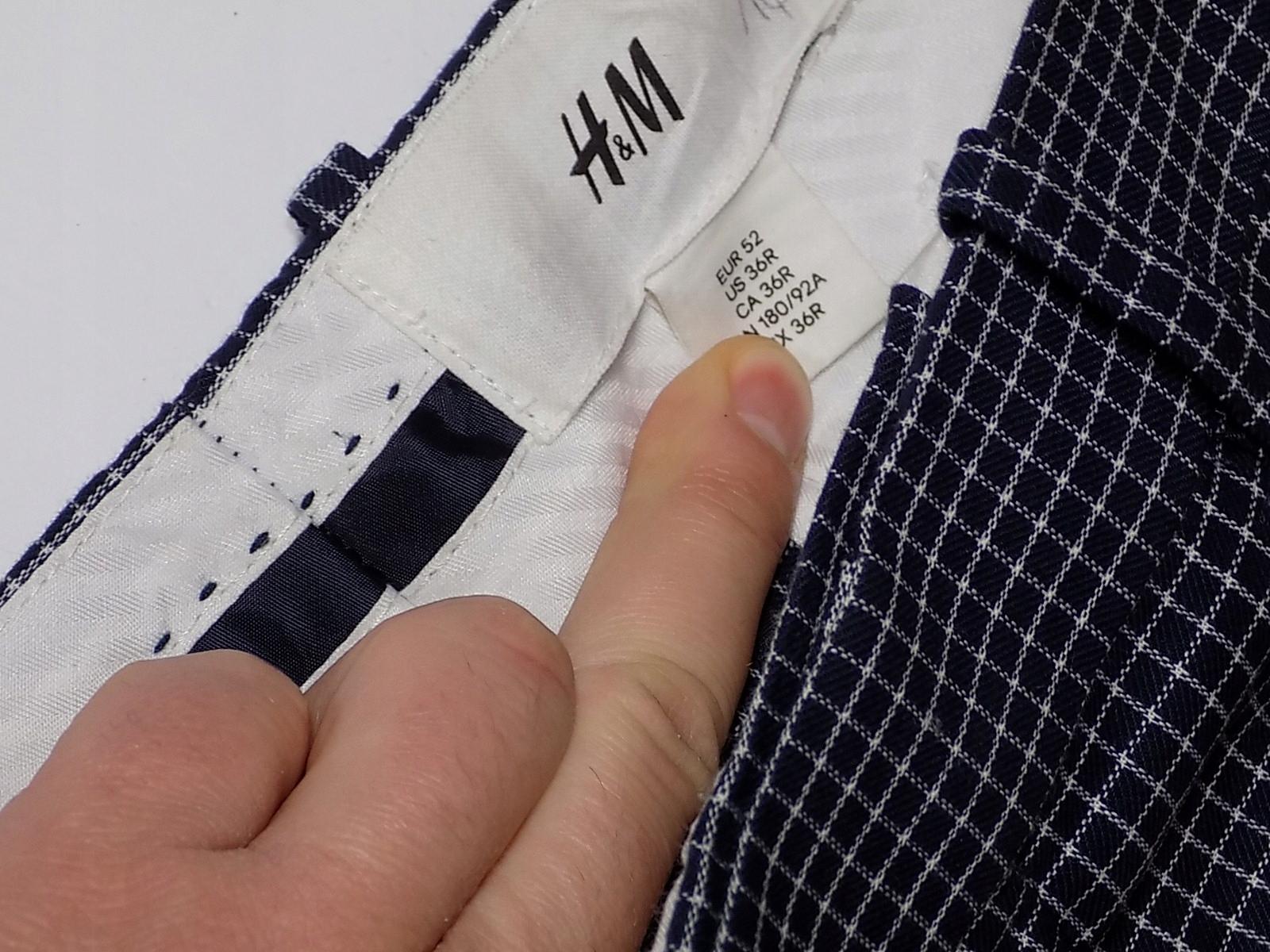 H&M spodnie męskie W36L32 kratka jak nowe