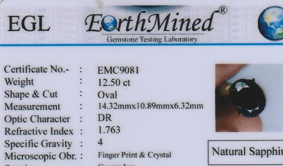 Szafir 12.50 Cts Naturalny 14,32/10,89/6,32 mm EGL