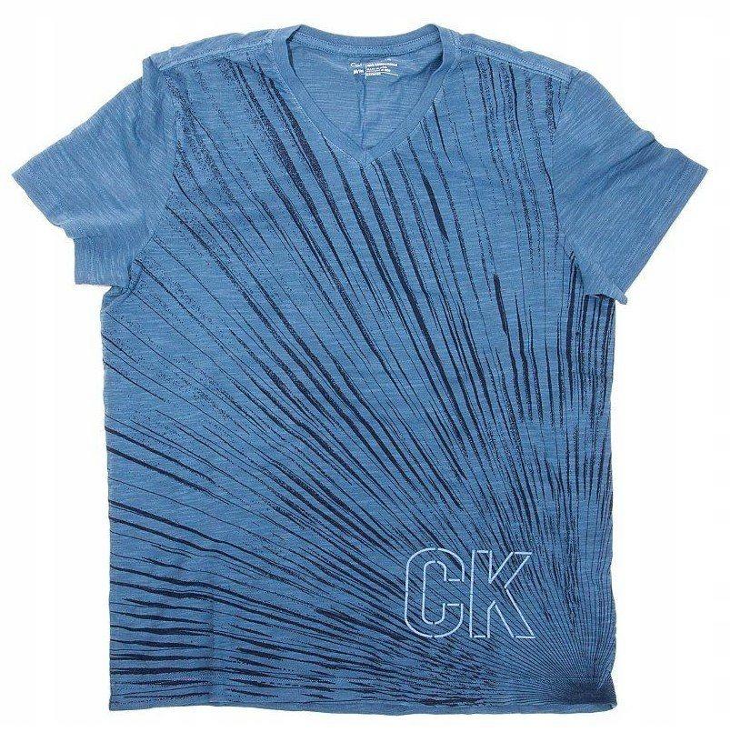 CALVIN KLEIN niebieski t-shirt logo na plecach M