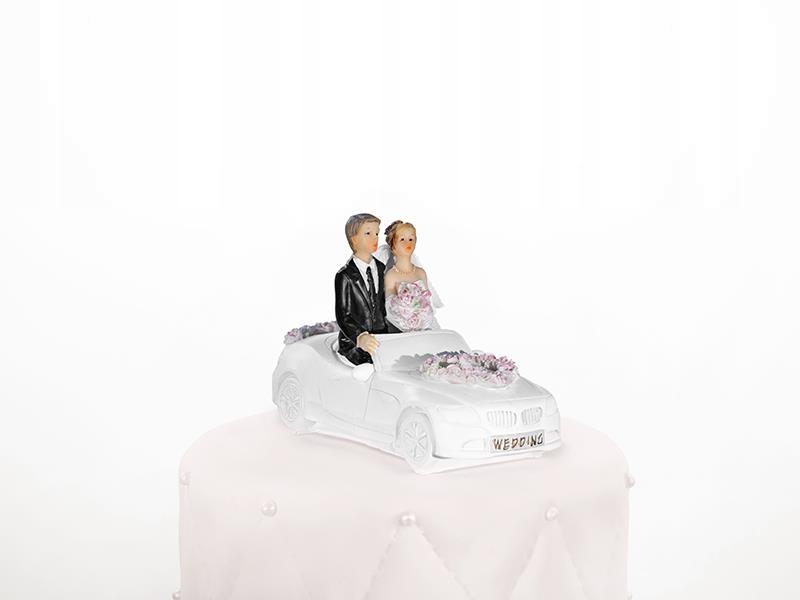 Figurka Weselna na Tort Para Młoda w Samochodzie