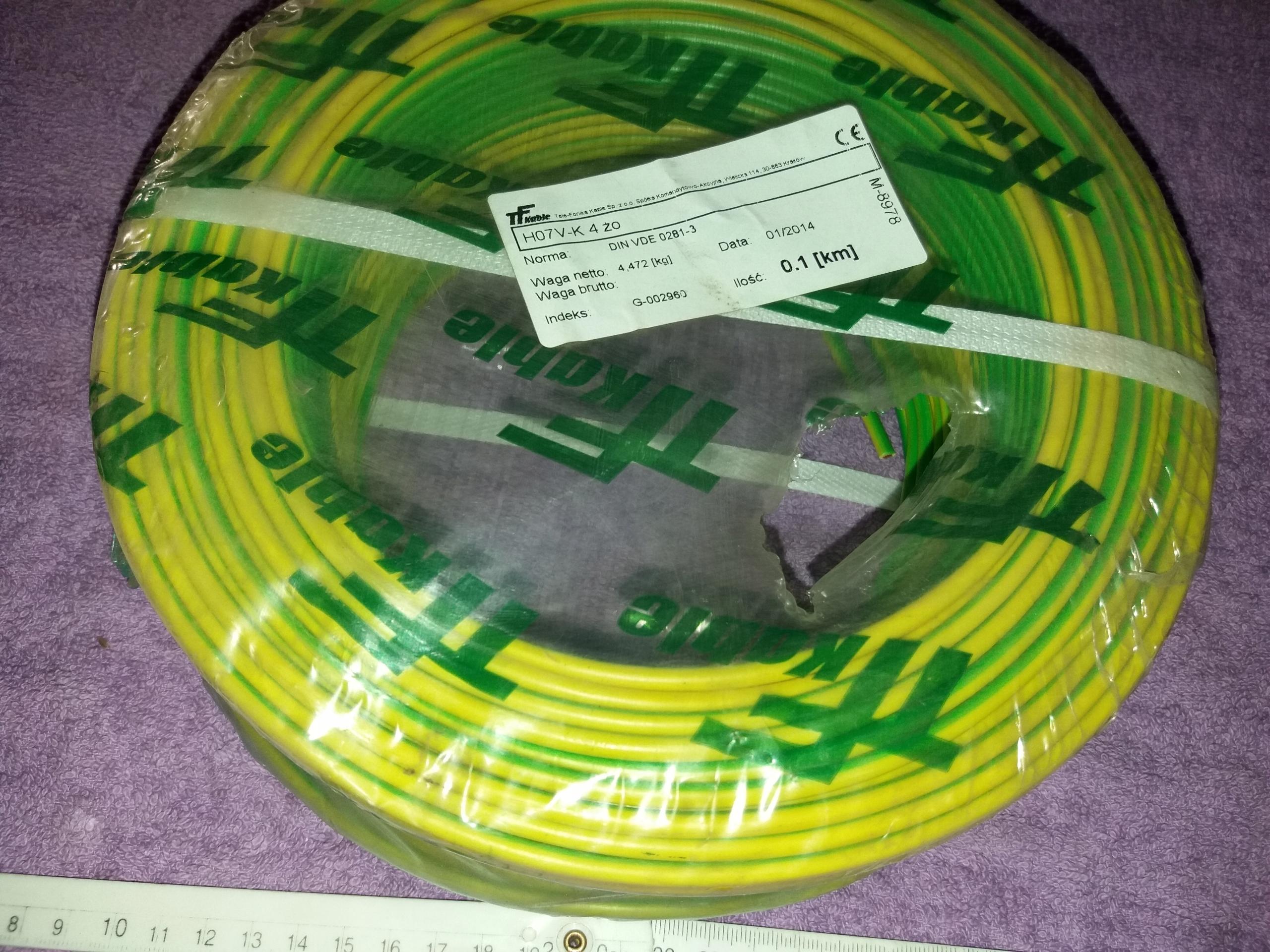 Kabel przewód linka żółto-zielona 1x4mm2 H07V-K 4