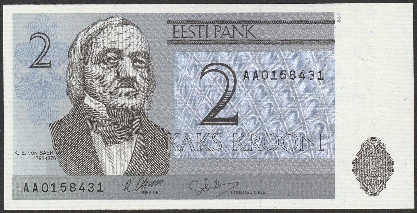 Estonia - 2 korony - 1992 - K.E. v Baer - AA - UNC