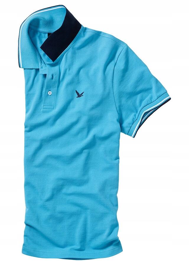 Shirt polo z bawełny p niebieski 52/54 (L) 953512