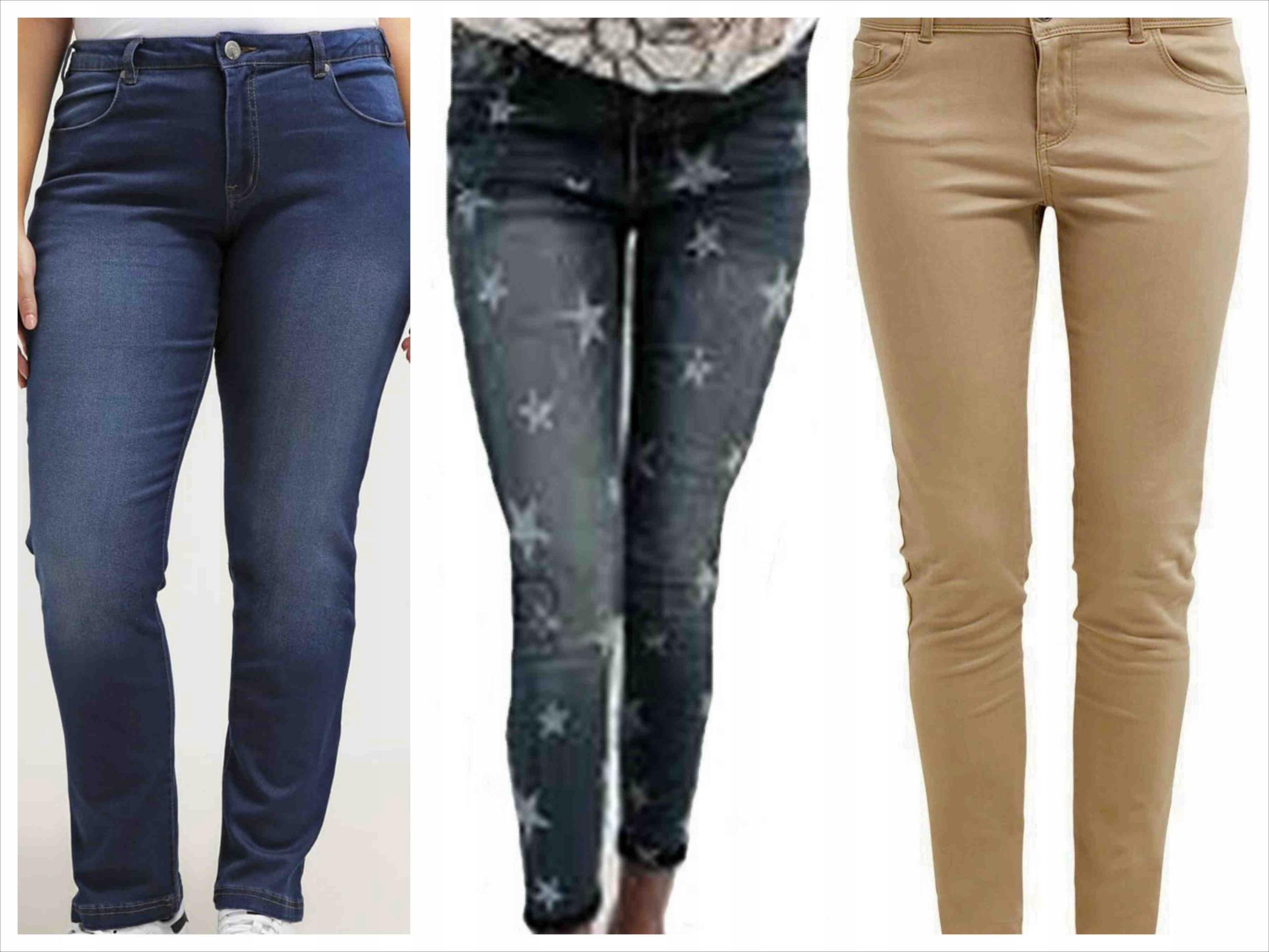 Zestaw 3 pary jeansów r.46, wysoki stan