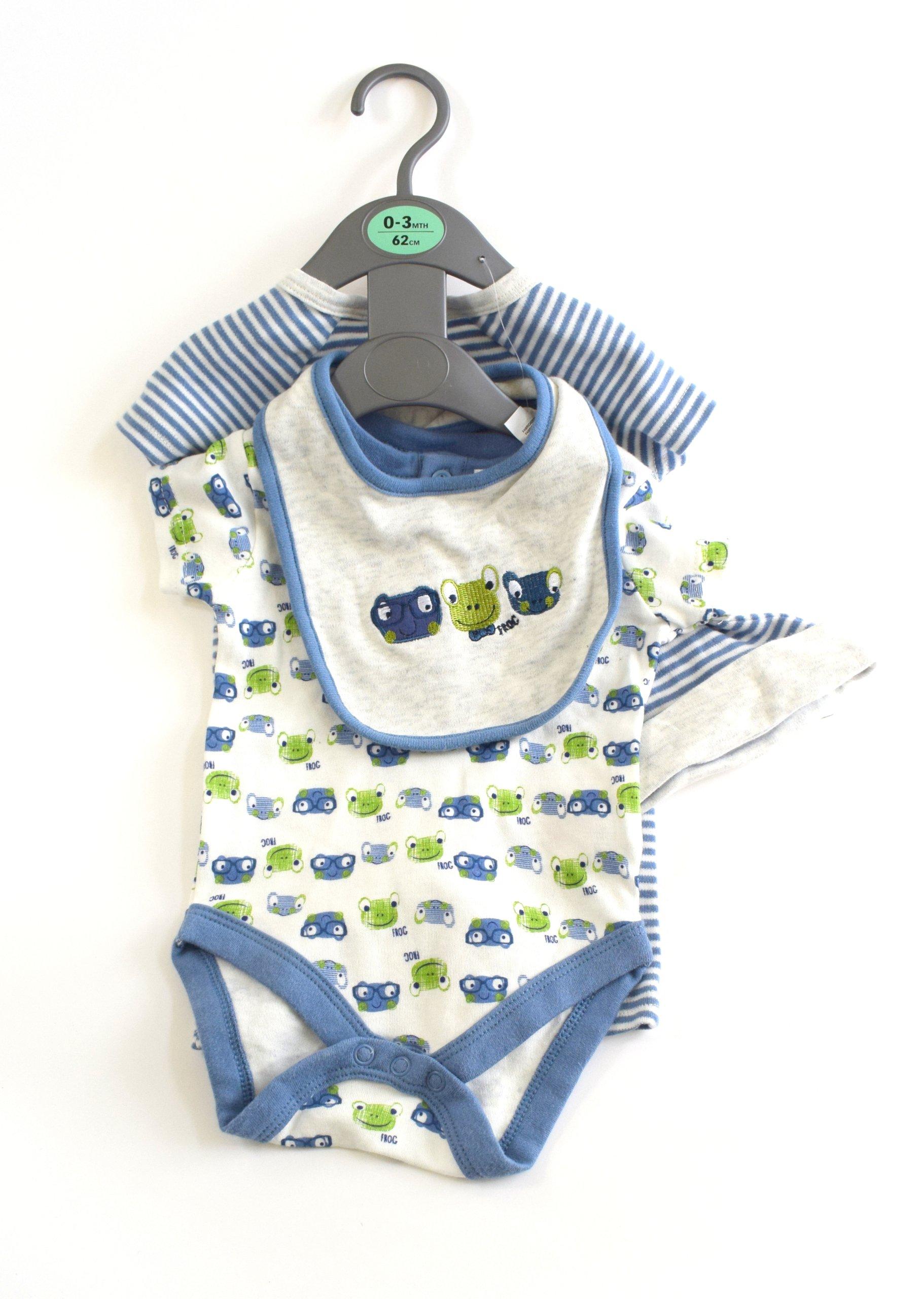 ZESTAW dla chłopca niebieskie 0-3 miesięcy BAWEŁNA