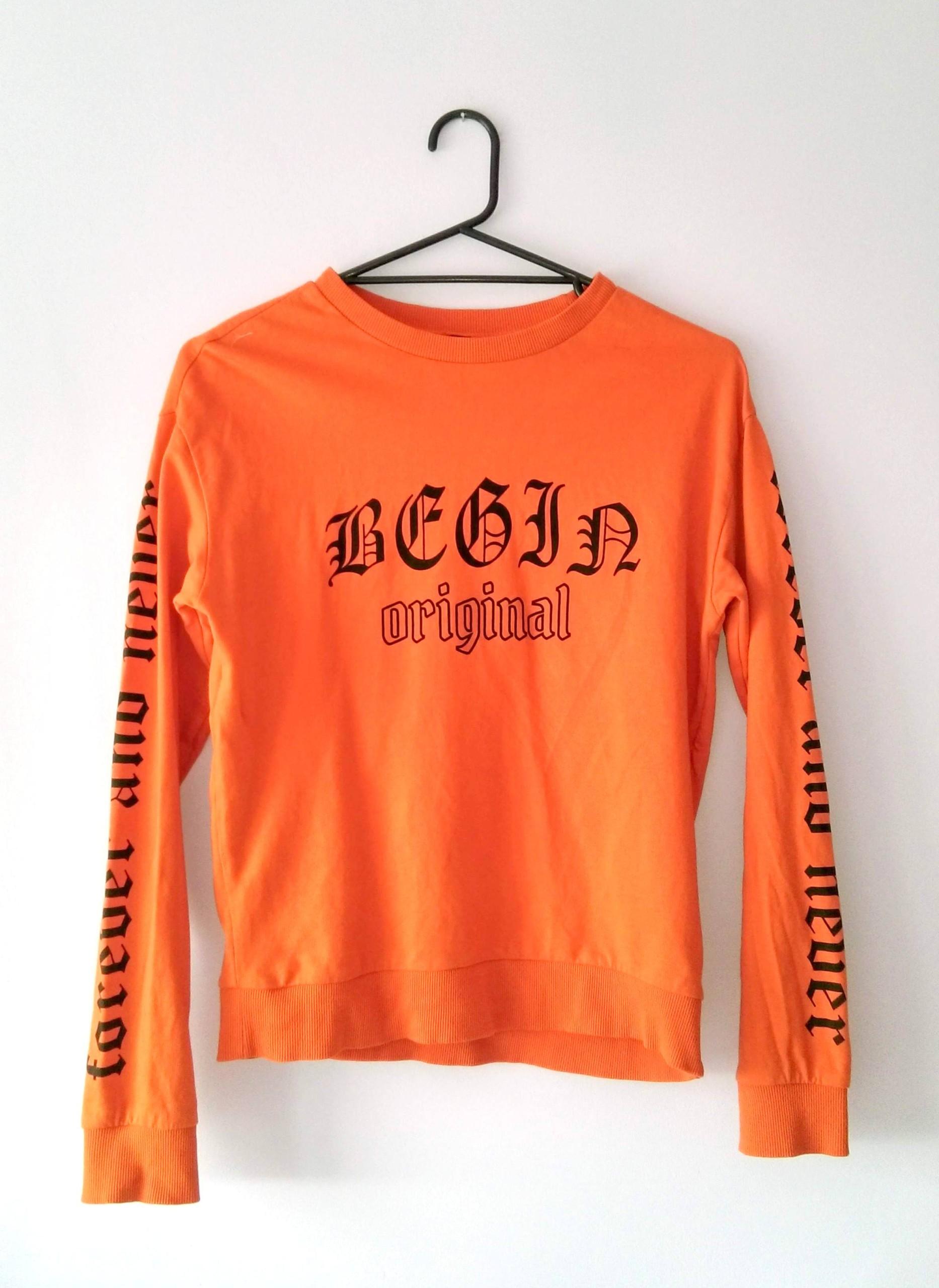 H&M DIVIDED bluza pomarańczowa napisy XS 34