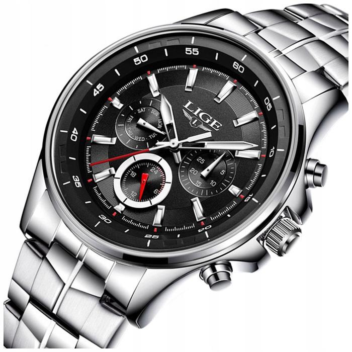 Zegarek męski LIGE bransoleta chronograf datownik