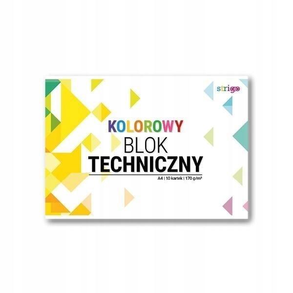 Blok techniczny kolorowy A4/10K (10szt) STRIGO