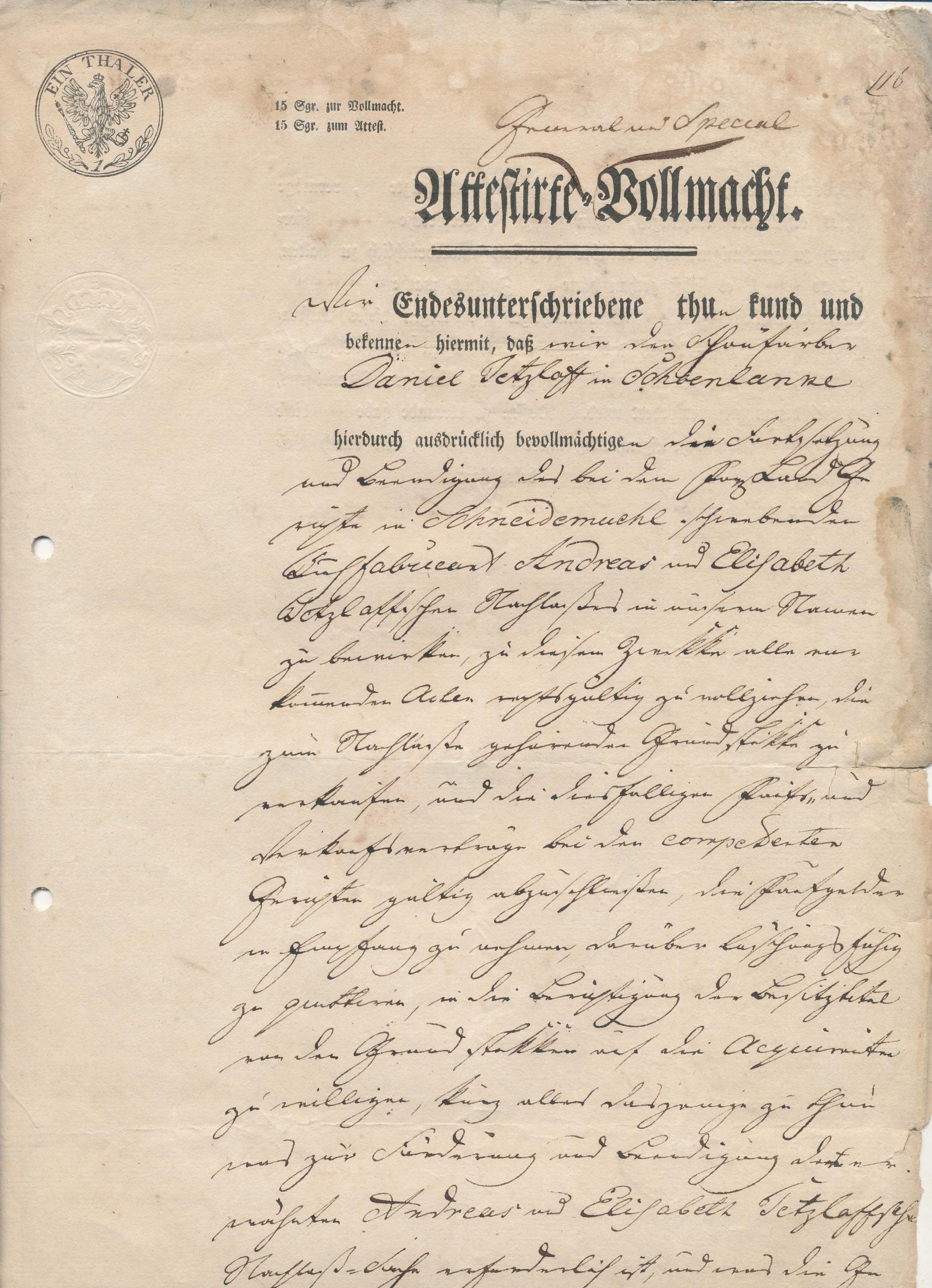 Stargard 1834 r.Dokument Sądowy.