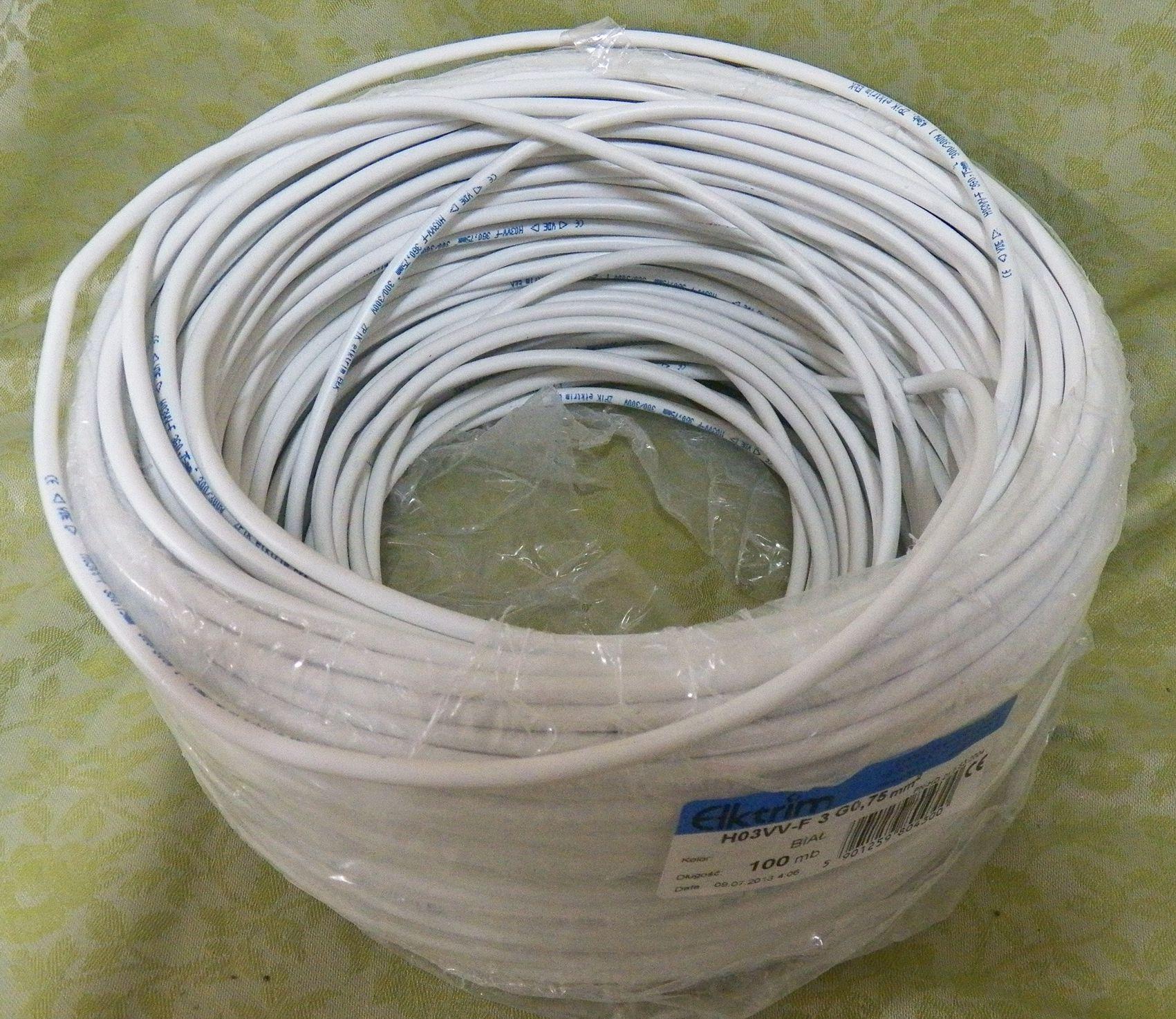 Przewód OMY 3 x0.75 mm2/H03VV-F 3G0.75 - 90 metrów