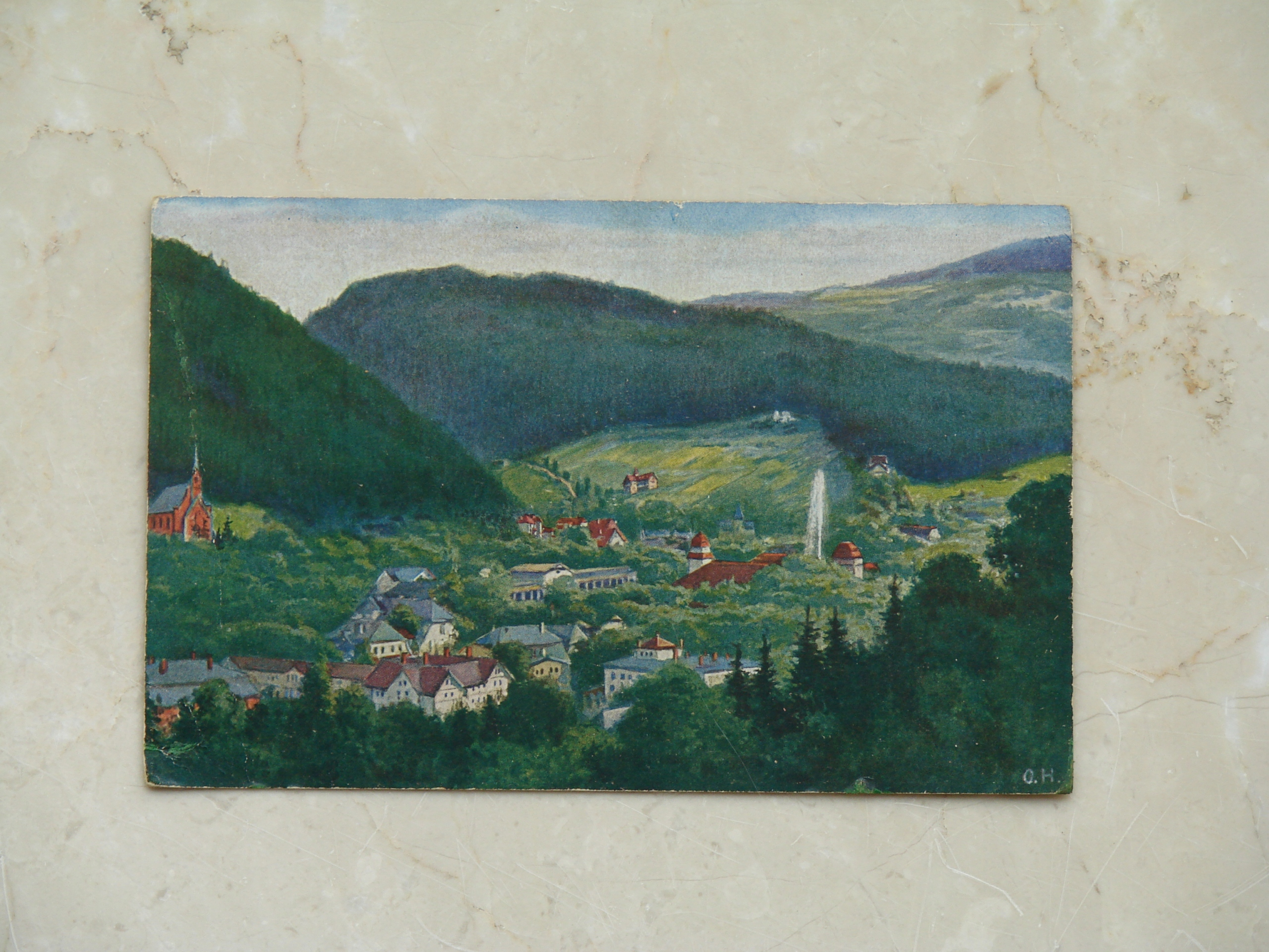 Bad Reinerz, Glatz - Akwarela O. Herrfurth