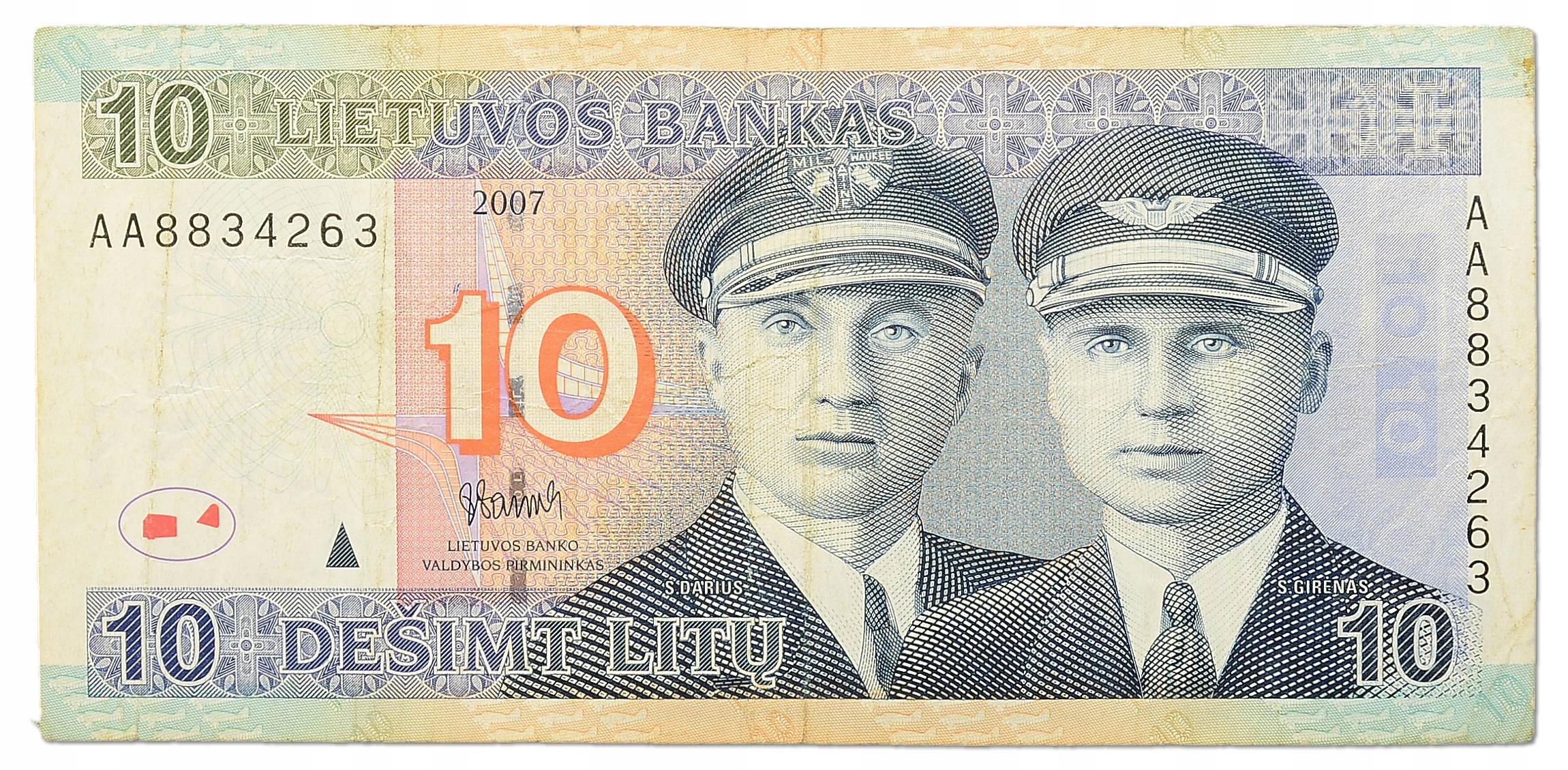 10.Litwa, 10 Litów 2007, P.68, St.3+