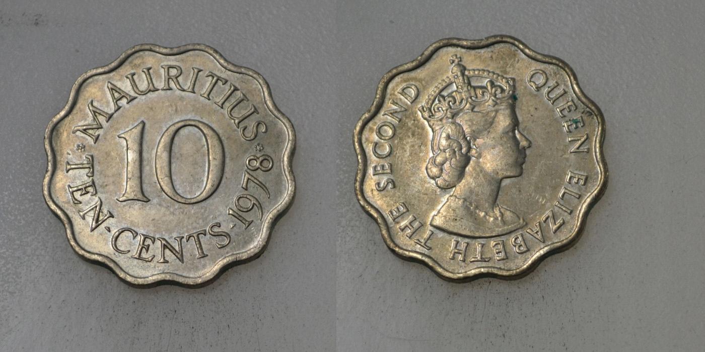 Mauritius 10 Cents 1978 rok BCM