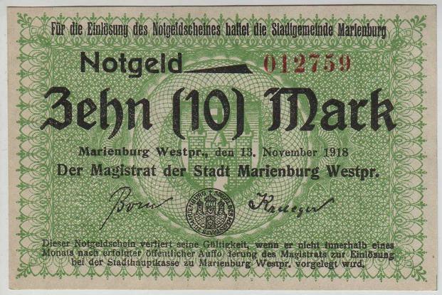 R11 Malbork (Marienburg), 10 M, 1918r.