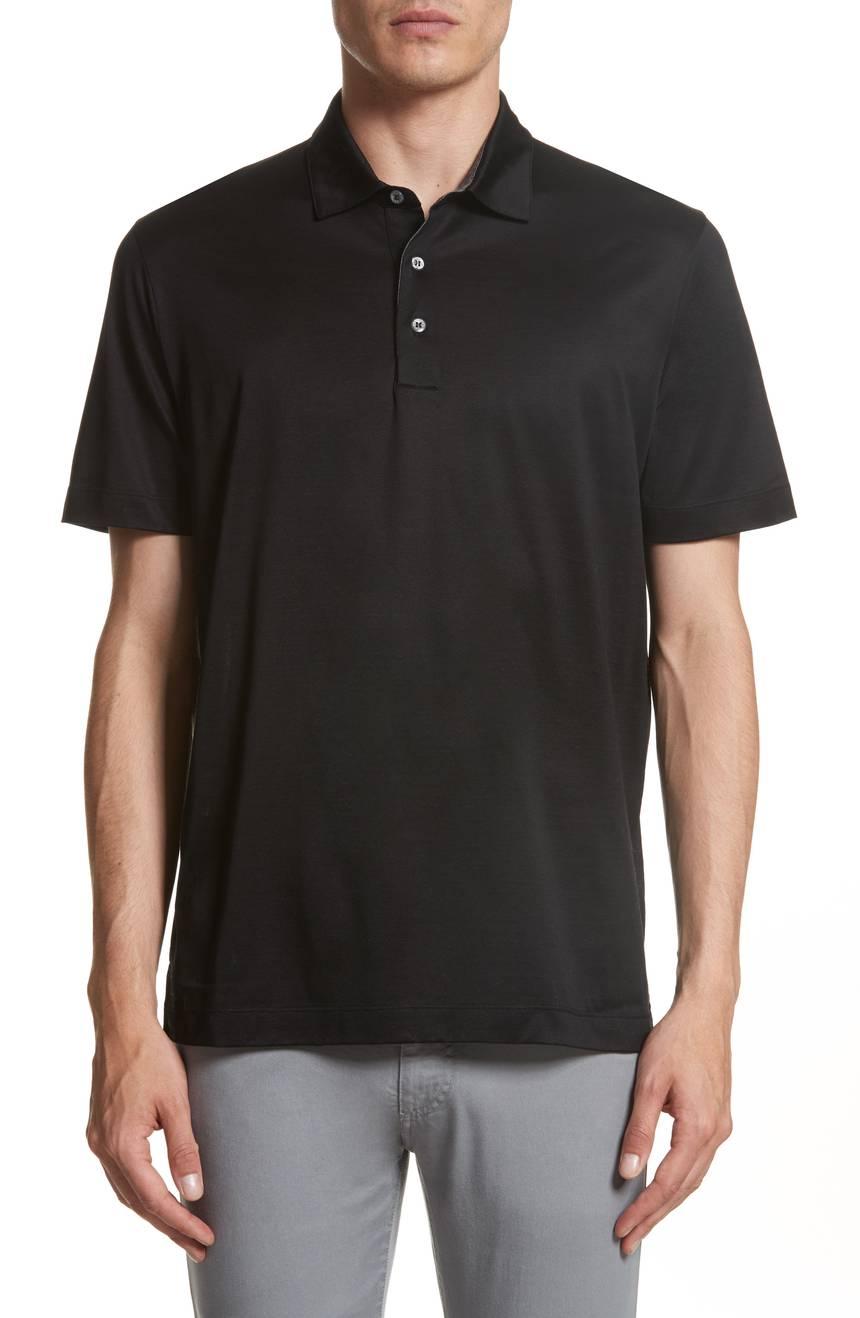 Czarny t-shirt polo H&M L