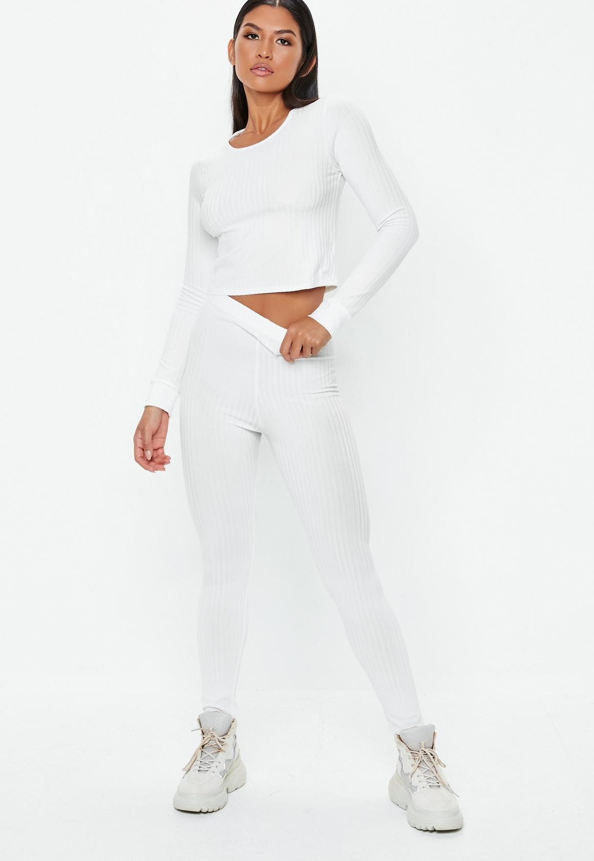 D418 MISSGUIDED białe prążkowane legginsy 38