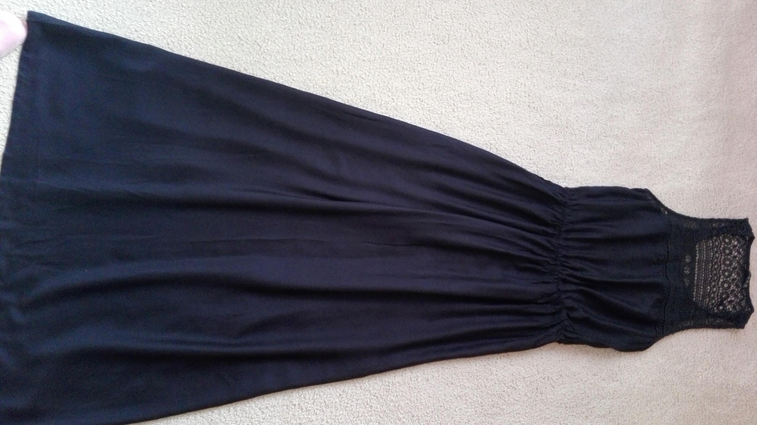 Granatowa sukienka maxi boho koronka ATMOSPHERE 36