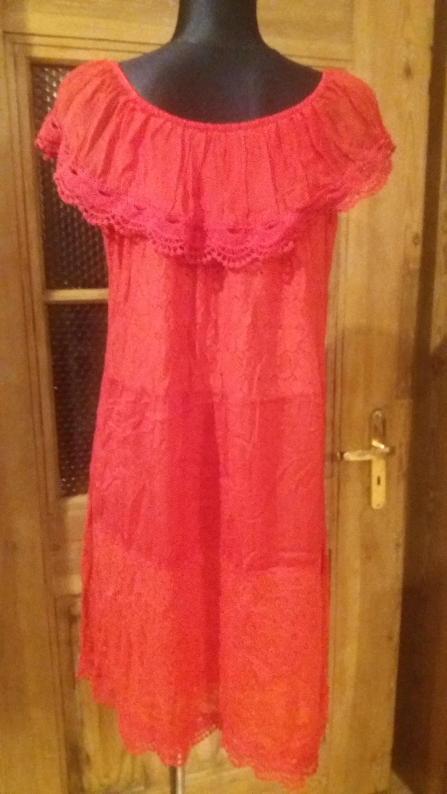 Czerwona sukienka koronka L XL 40 42