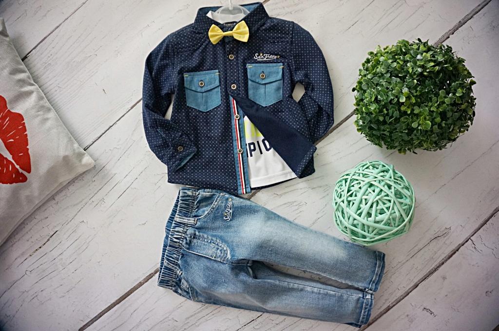 KOMPLET 80/86 koszula+mucha+sp. jeans+t-shirt 1gra