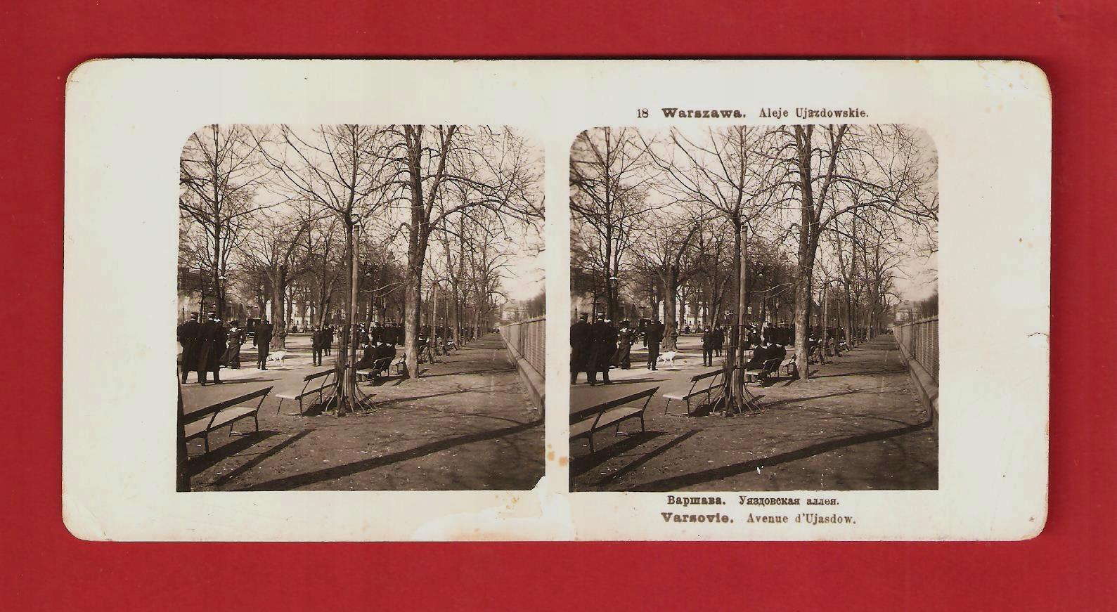 Warszawa 1905 Aleje Ujazdowskie Stereoskopia