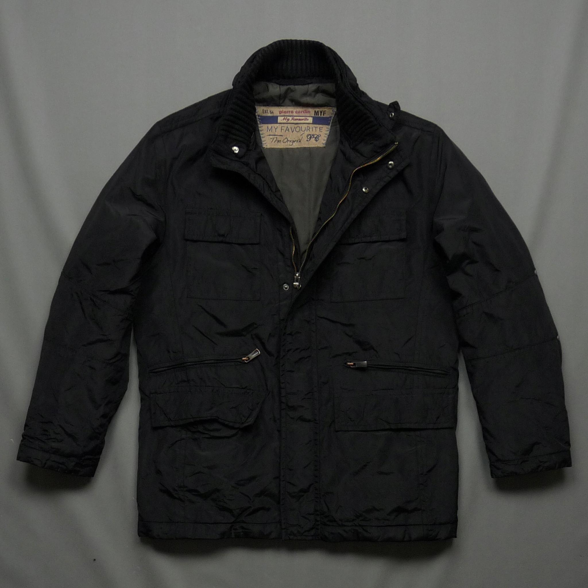 PIERRE CARDIN czarna przejściowa kurtka z logo L