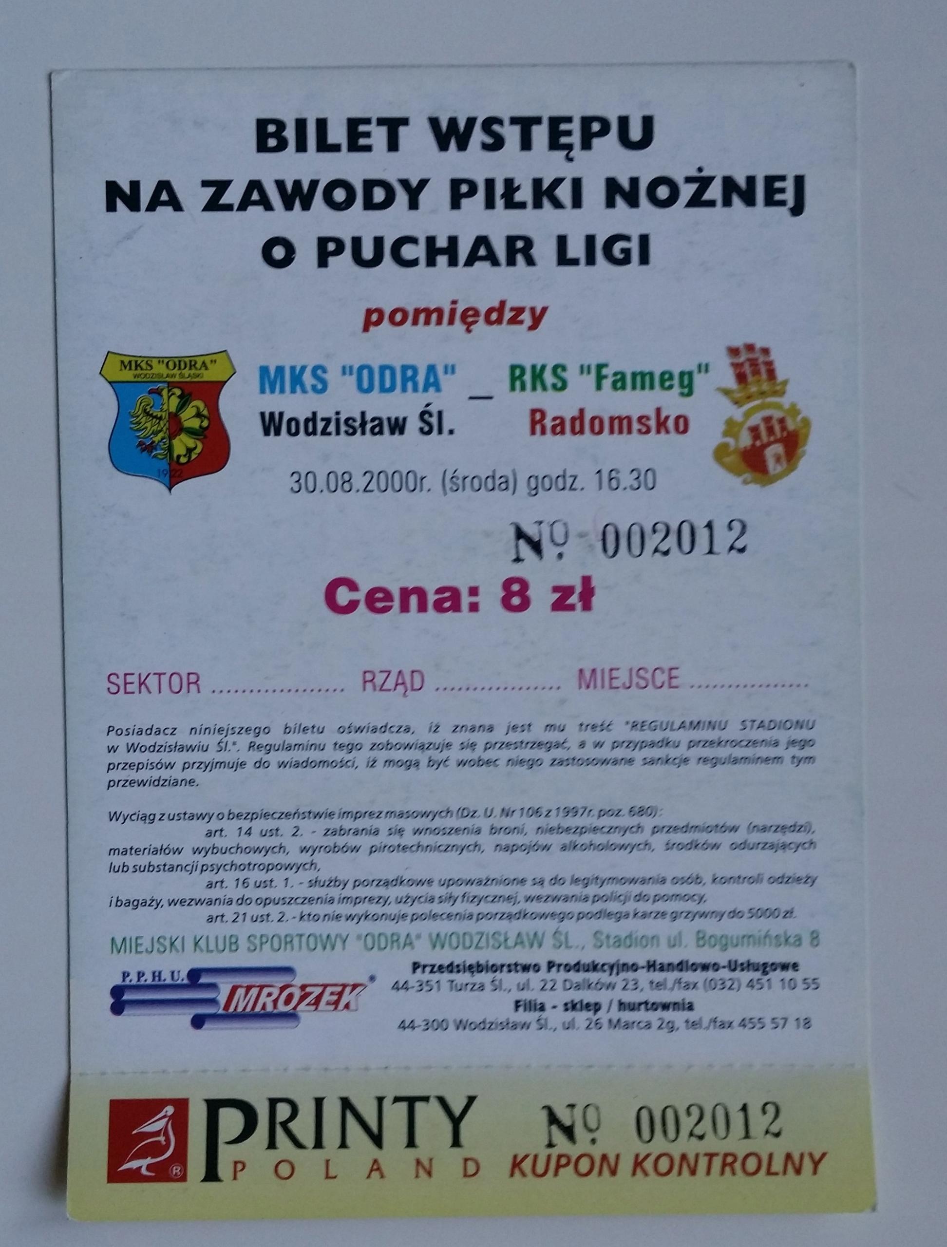 Bilet Odra Wodzisław - Fameg Radomsko 30.08.2000