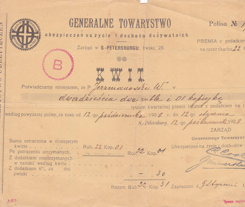 Kwit ubezpiecz. GT - 22 ,01 rb. -1908 r.