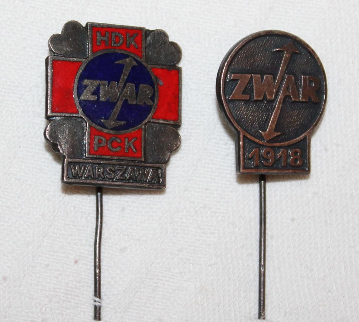 ZWAR 1918 i ZWAR Warszawa HDK-PCK dwie odznaki