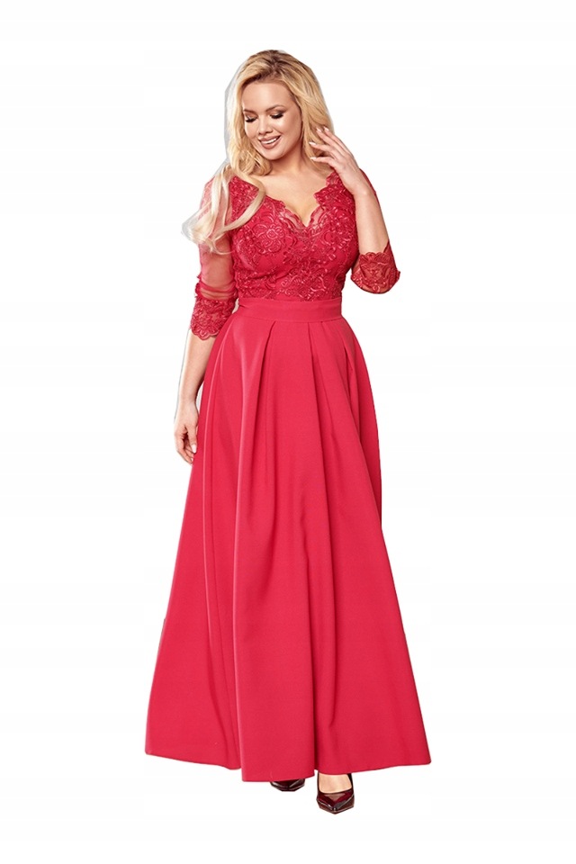 Malinowa sukienka maxi wesele z koronką Bicotone