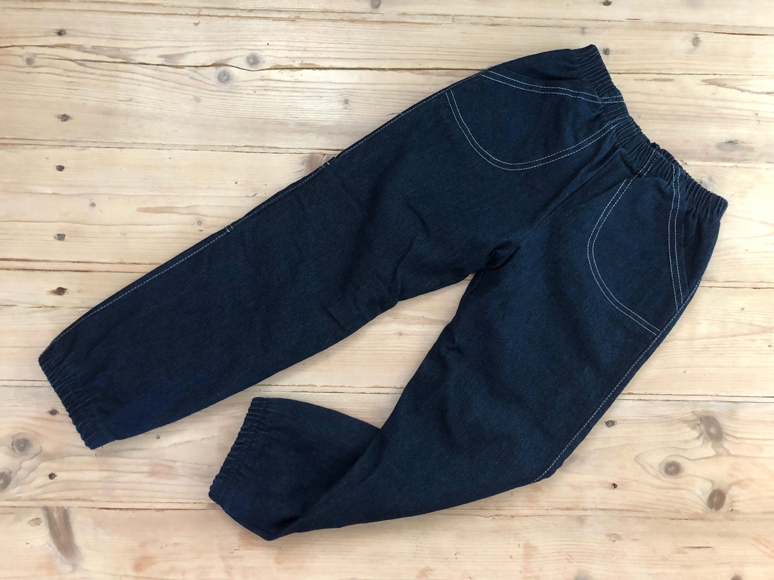 Spodnie ocieplane jeans na polarze = polskie = 128