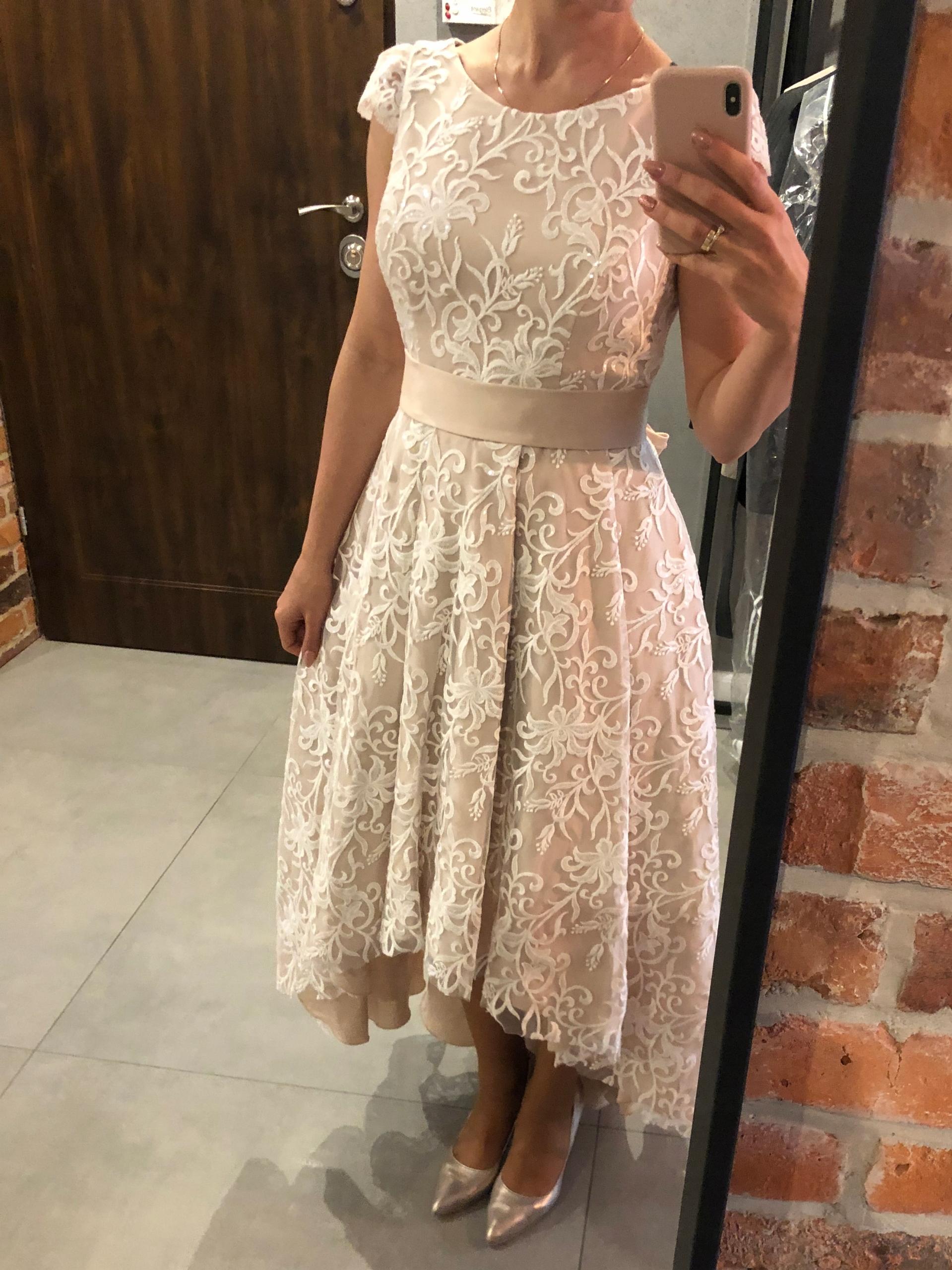 3ea25a31254 Przepiękna suknia WIECZOROWA ecru wiązana Okazja! - 7641952746 ...