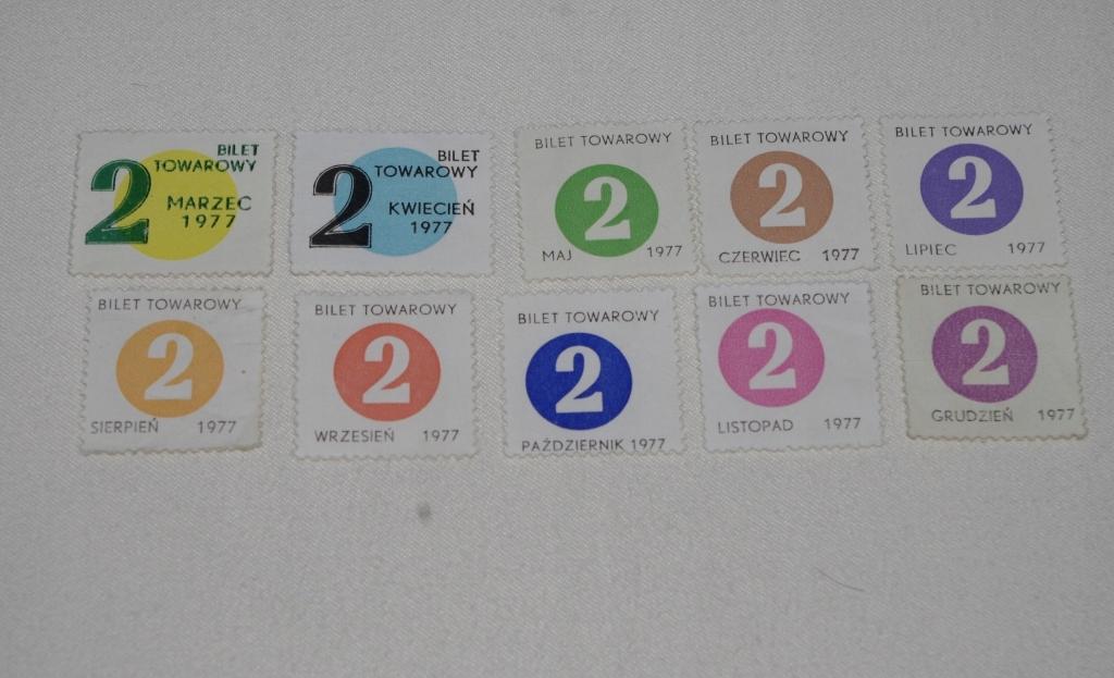 ZESTAW KARTEK CUKROWYCH 1977