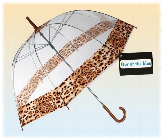 Parasol przezroczysty lampart- duża otwierana ręcz