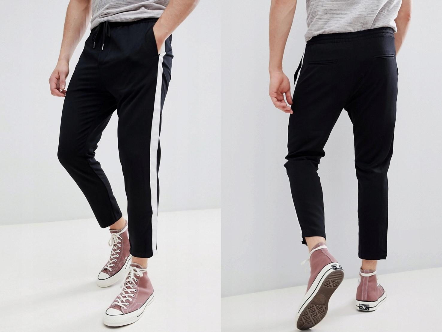 Pull&Bear czarne spodnie z paskami L/40