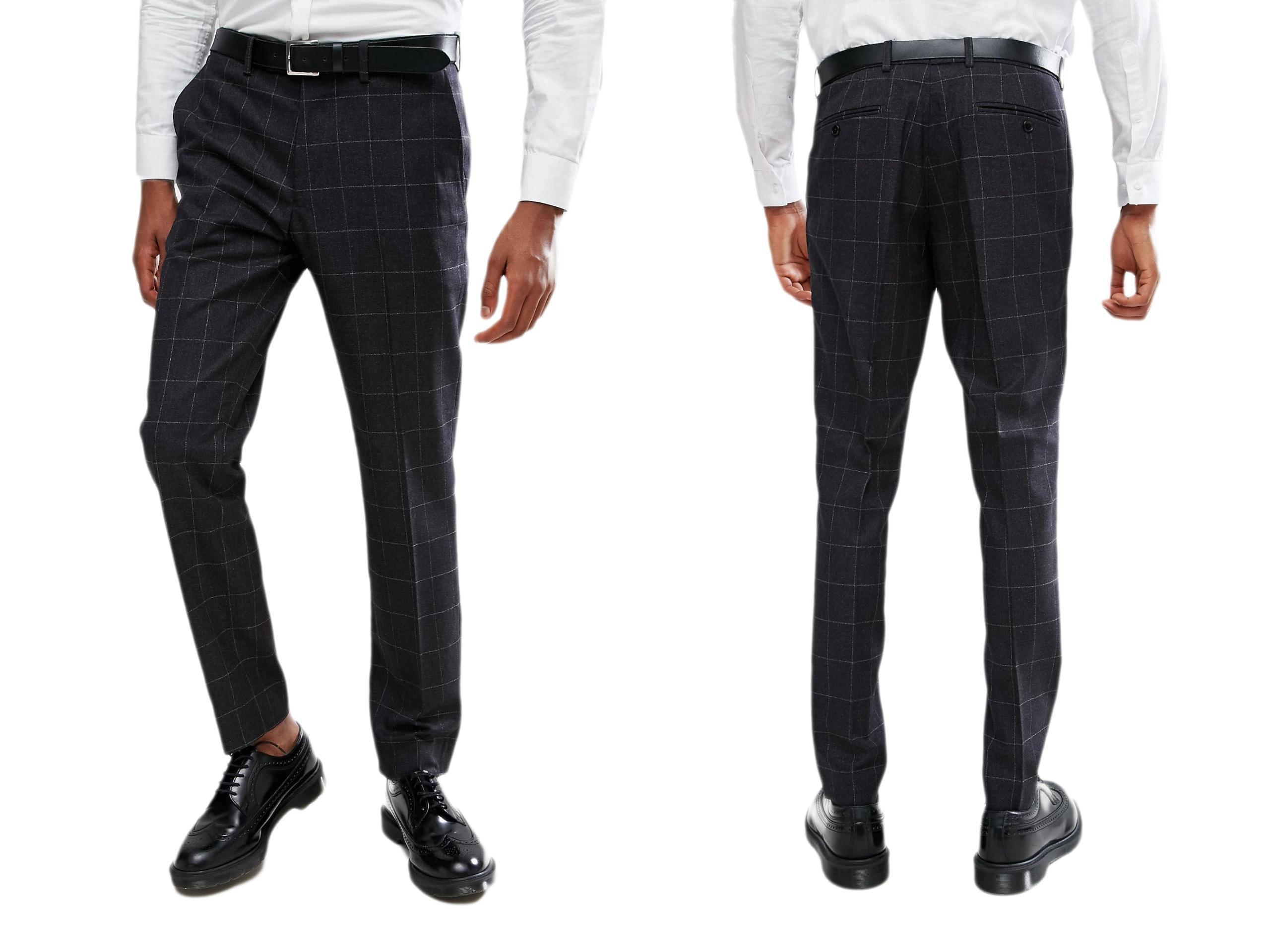 Rudie London eleganckie męskie spodnie w kratę 44