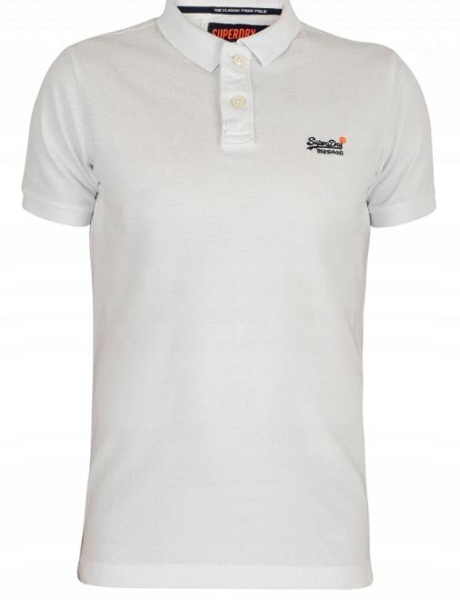 Superdry Koszulka Męska Polo Polówka Biała XL