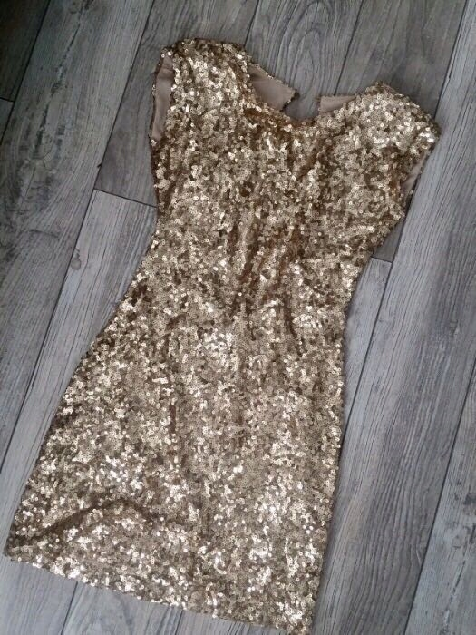 Sukienka z cekinami elegancka cekinowa mini 38