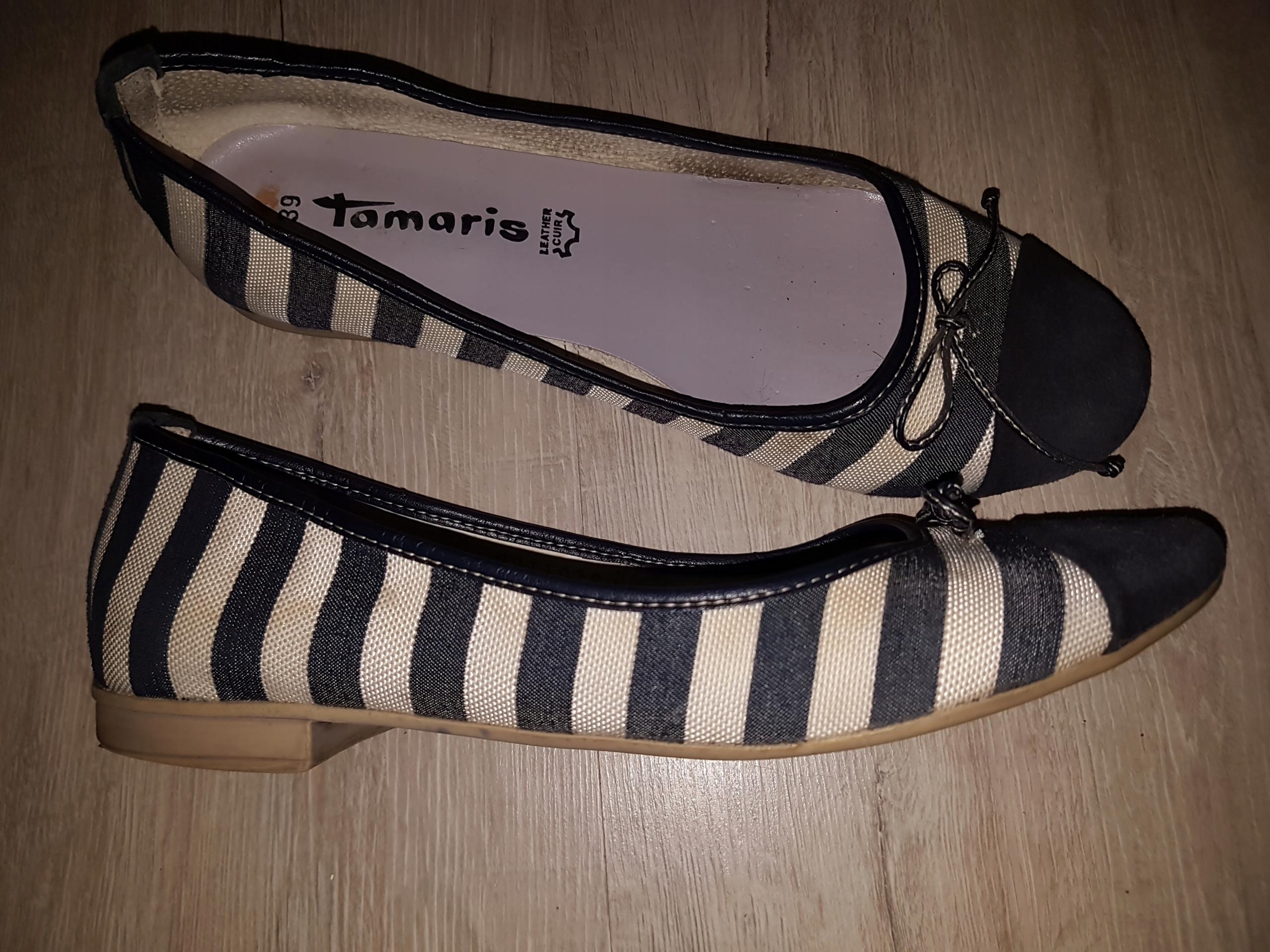 Tamaris balerinki w marynarskim stylu rozm. 39