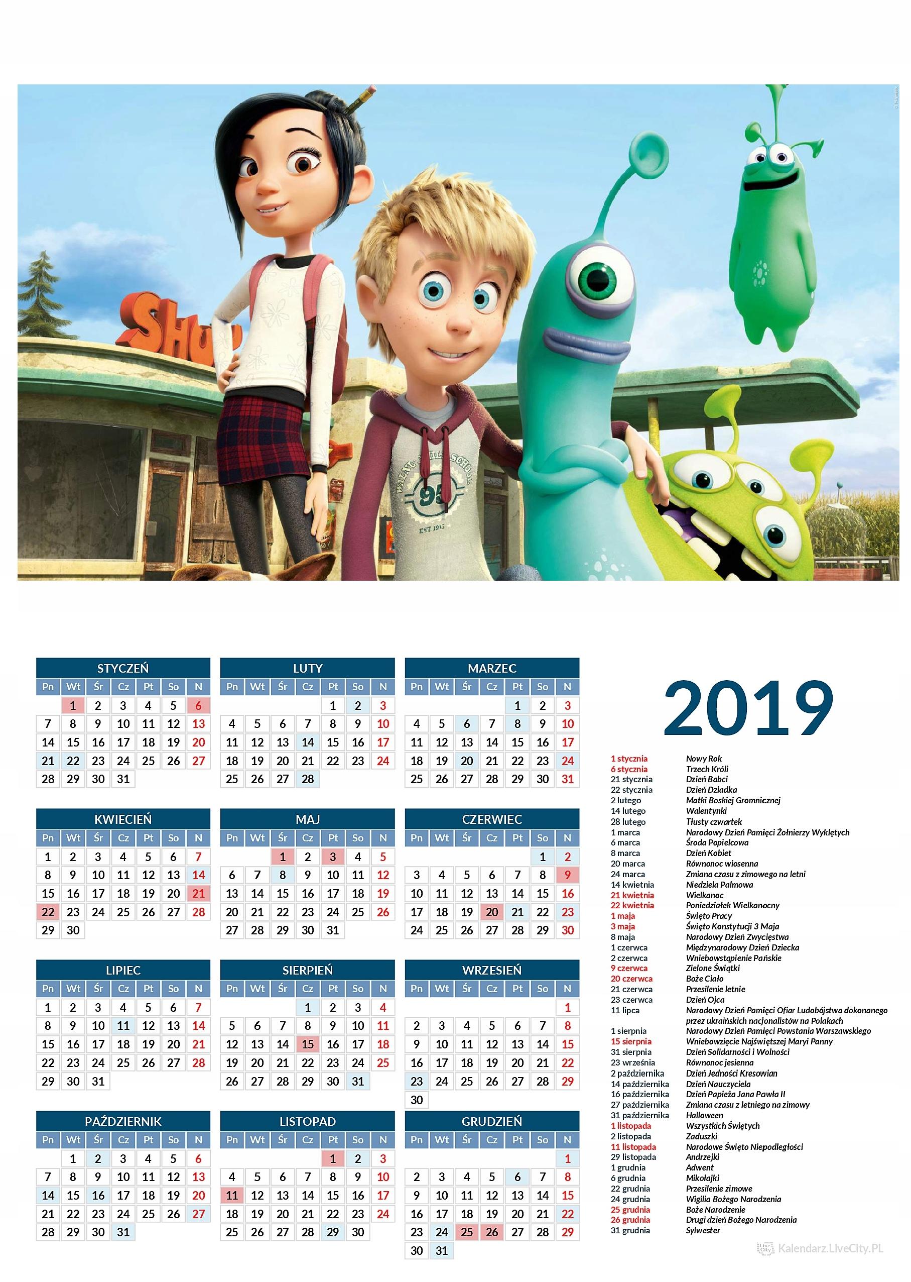 Kalendarz 2019 film luis i obcy