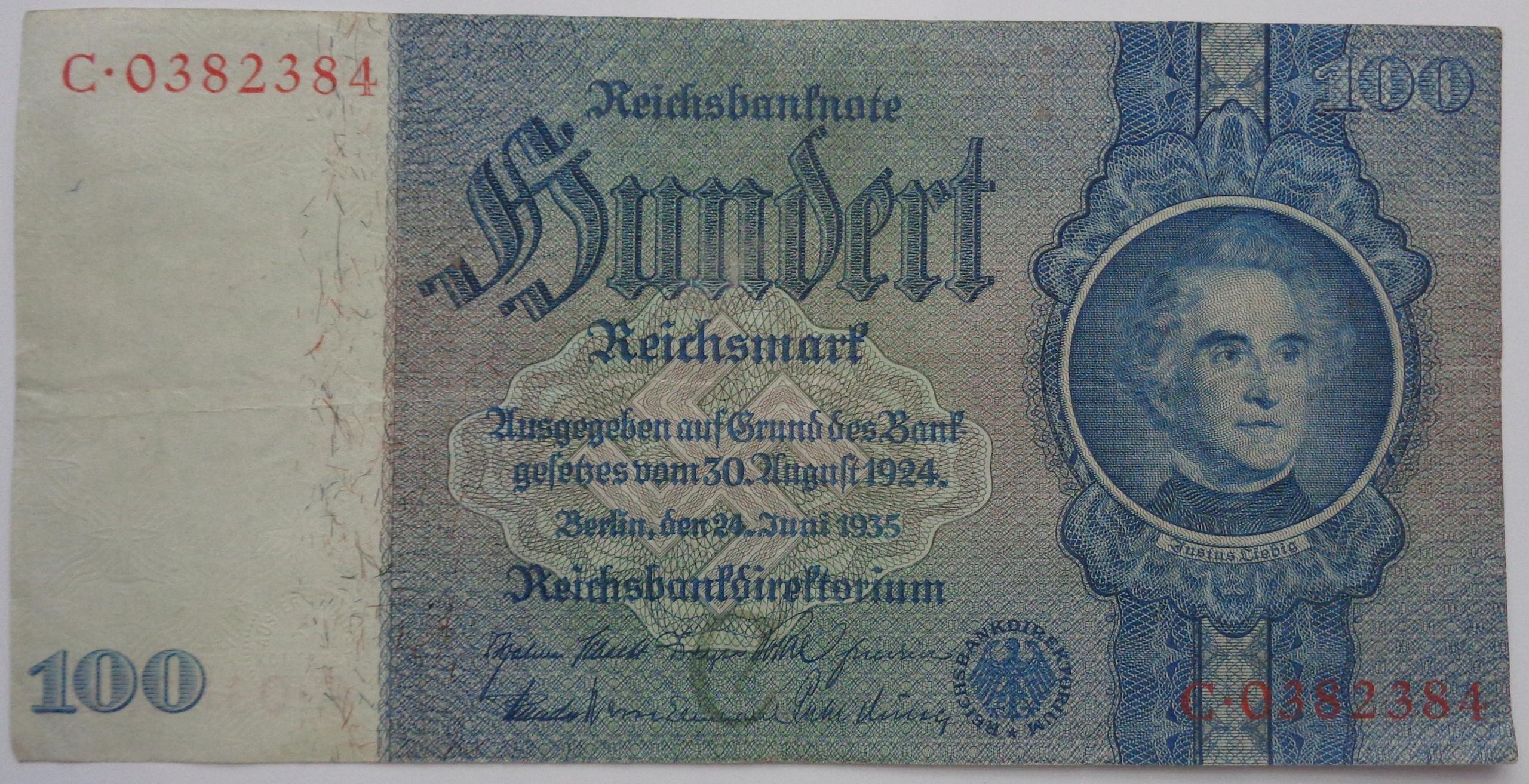 BANKNOT - NIEMCY - 100 MAREK - 1935 C / K-W