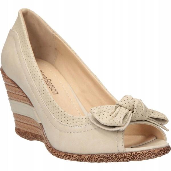 buty pólbuty ażurowe białe koturn jak nowe roz 35