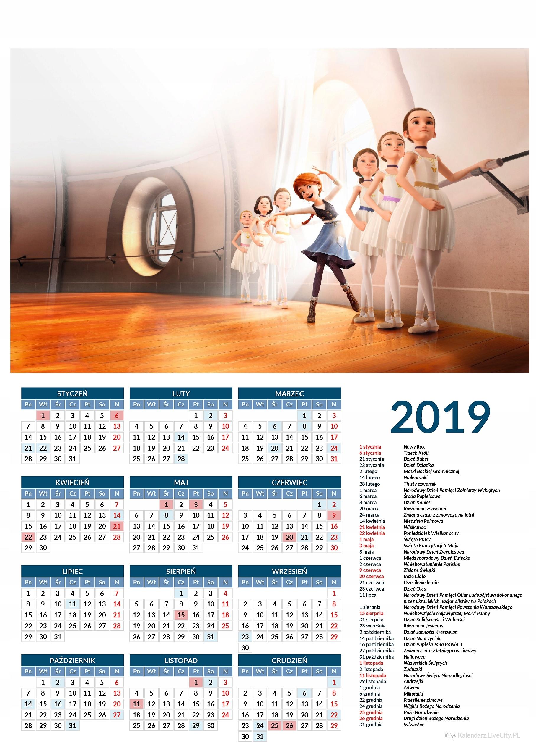 Kalendarz 2019 film Ballerina