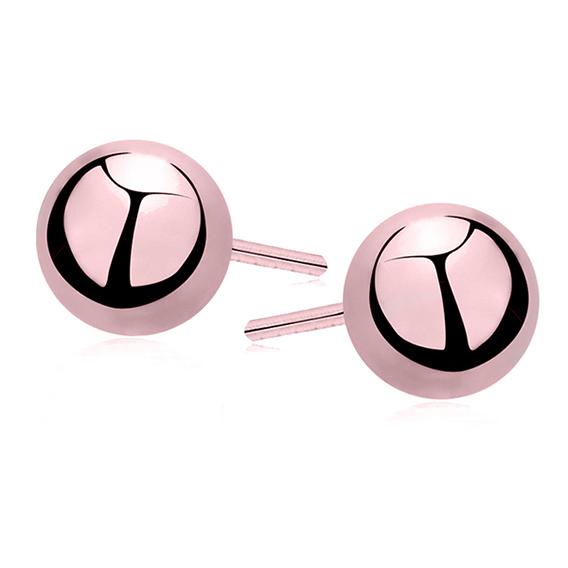 Kolczyki srebrne 925 kulki różowe 6 mm dla dzieci