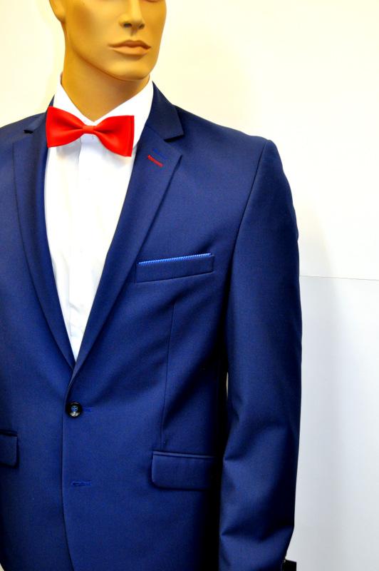 Męski garnitur slim 170/54 niebieski
