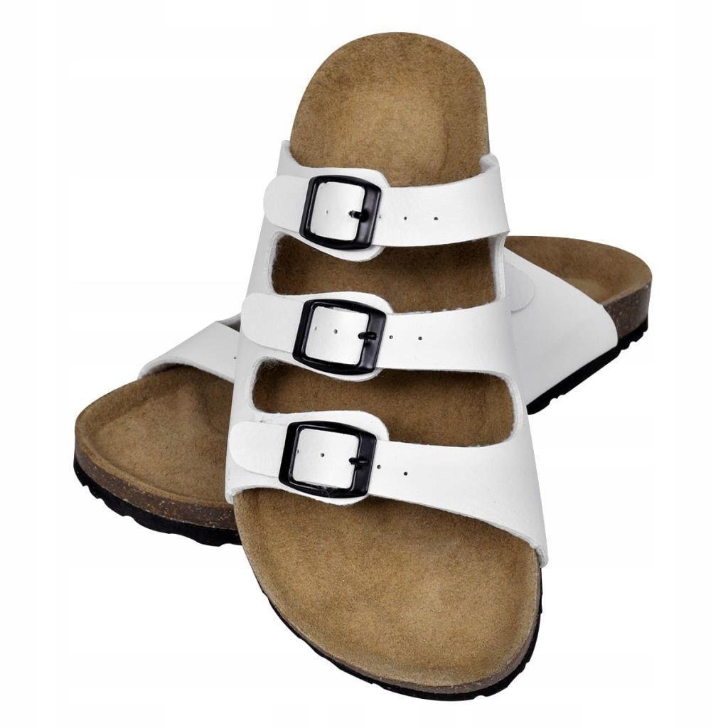 Białe sandały z korkową podeszwą i 3 paskami rozmi