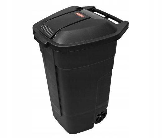 Pojemnik na odpady śmieci 110L czarny kółka śmieci